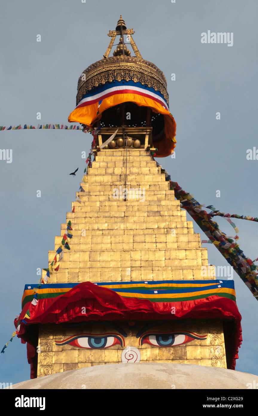 The Boudha Stupa near Kathmandu, Nepal - Stock Image