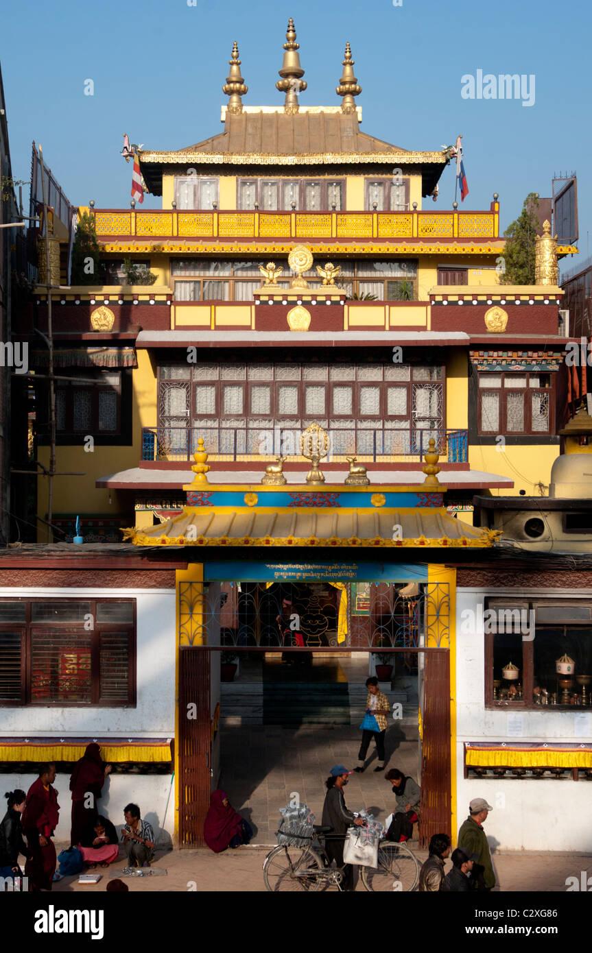 A Tibetan Buddhist monastery at the Boudha Stupa near Kathmandu, Nepal - Stock Image