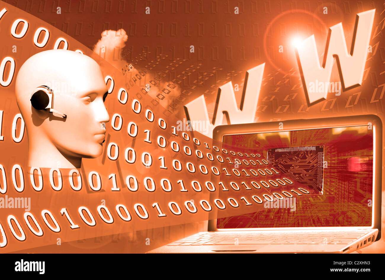 digital world: binary code floating to laptop - Stock Image