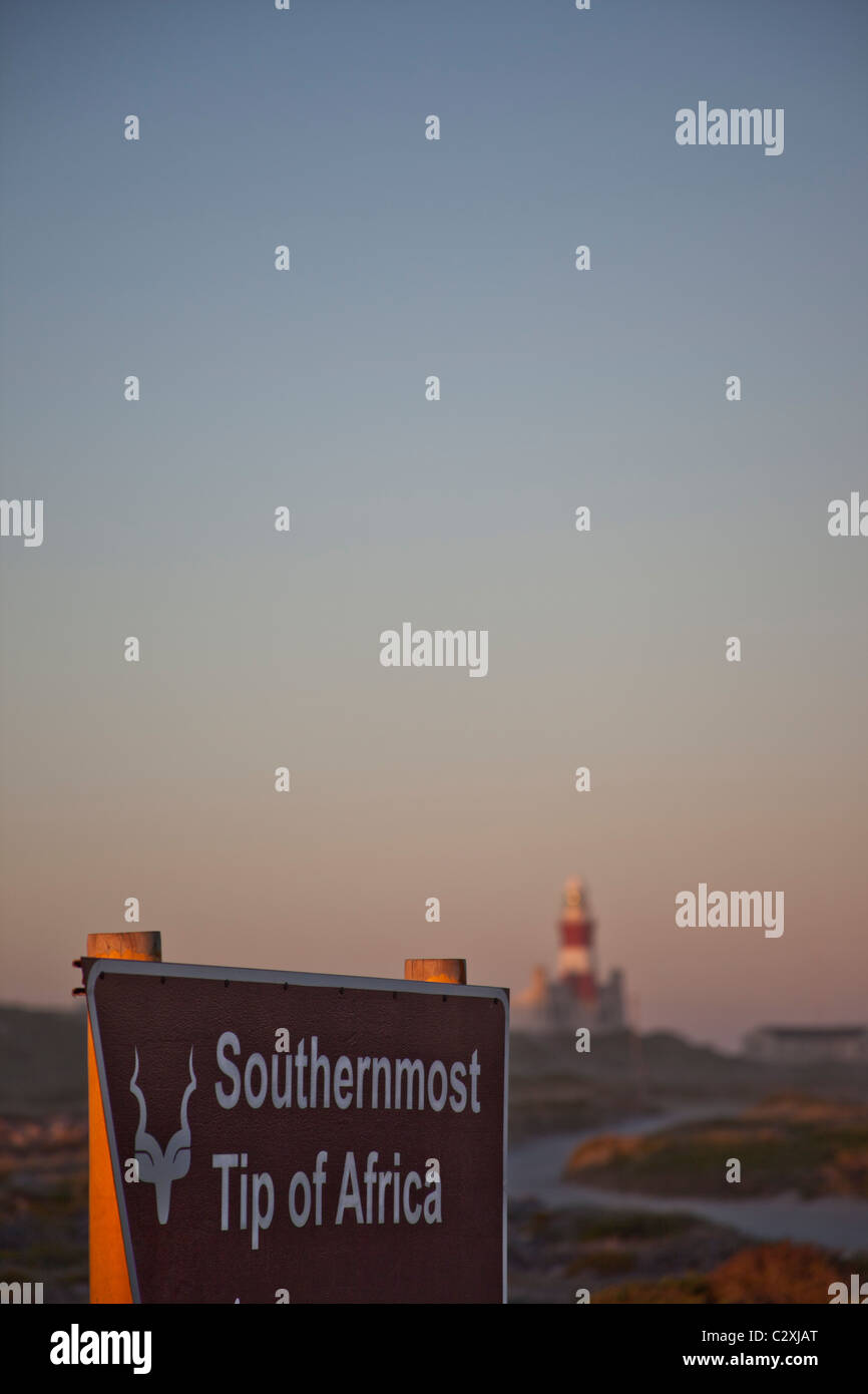 Sign at the most southerly point in Africa at Cape Agulhas, South Africa - Stock Image