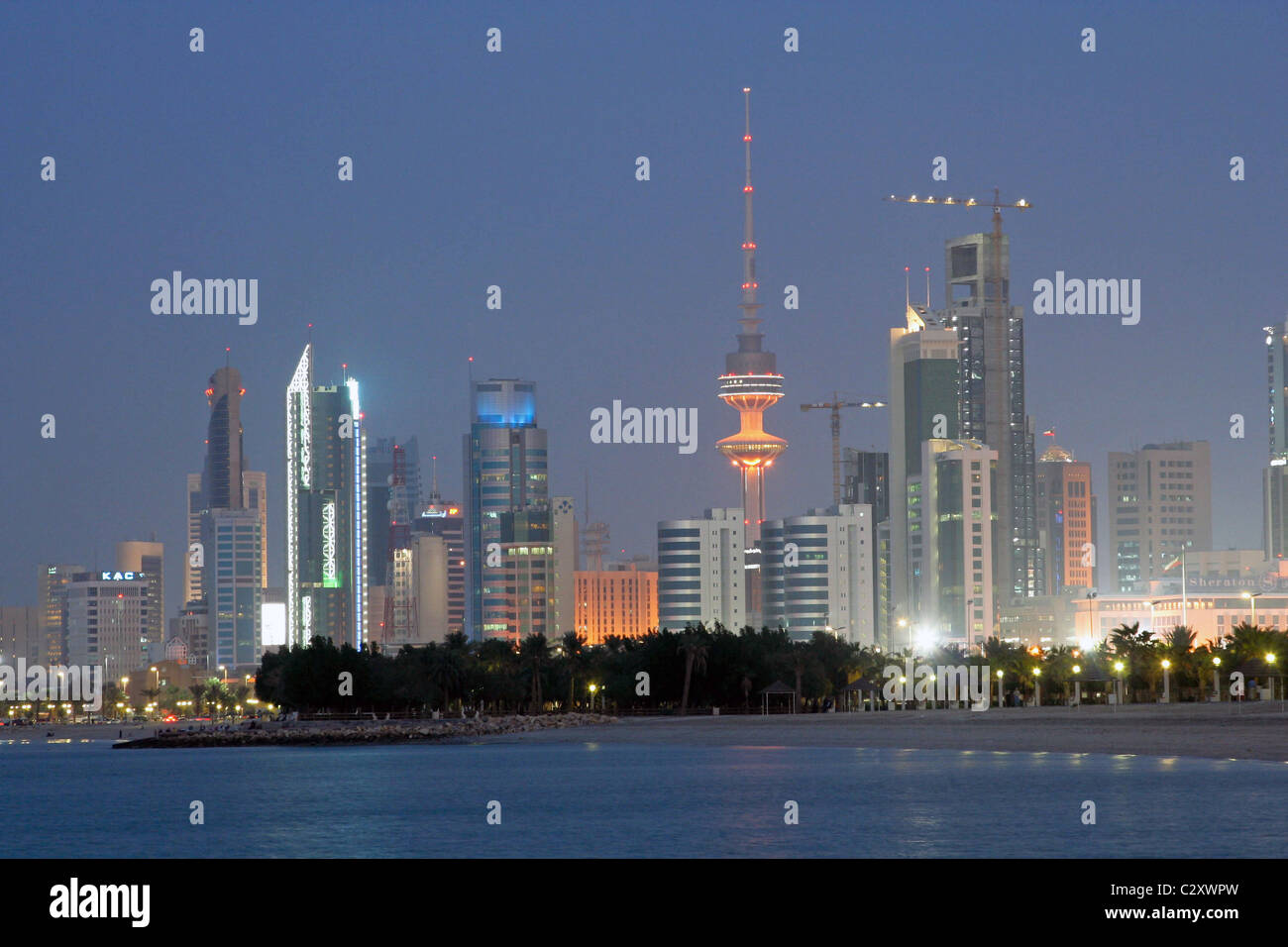 Kuwait skyscrapers , Middle east , , Night shot - Stock Image