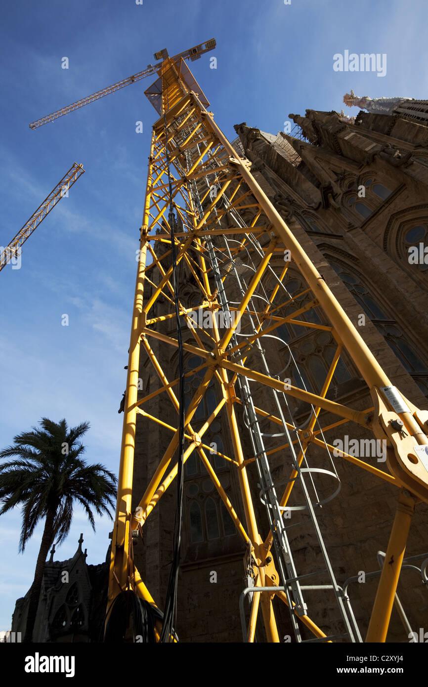 A crane in Sagrada Familia temple - Stock Image