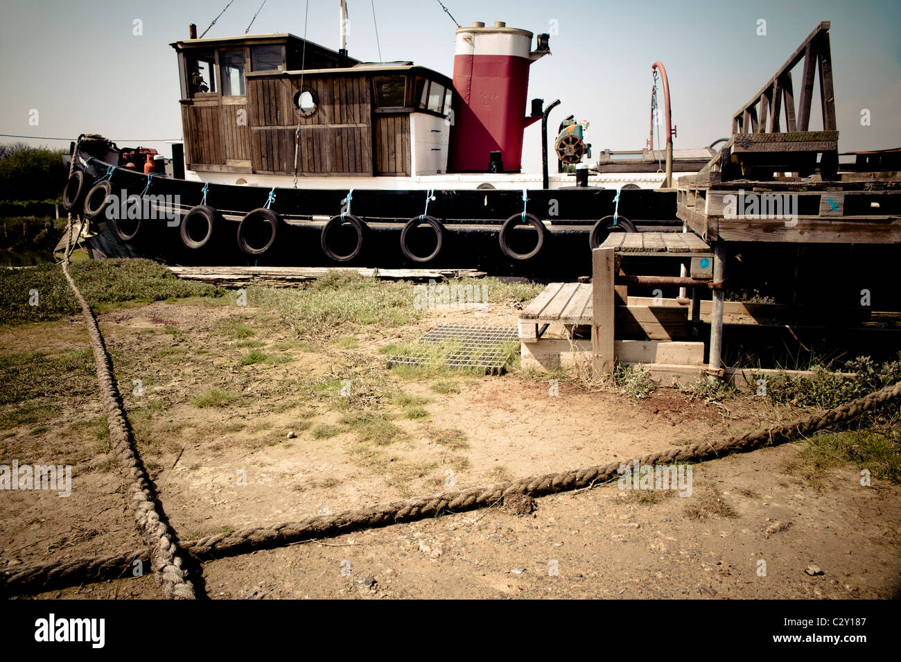 Wendy Ann 2, a tug style boat tied up on the river Arun in Littlehampton, West Sussex - Stock Image
