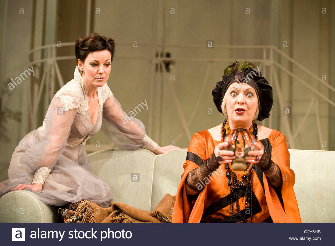 Blithe Spirit by Noel Coward ,directed by Thea Sharrock. With Ruthie  Henshall as Elvira,Alison Steadman as Madame Arcati.