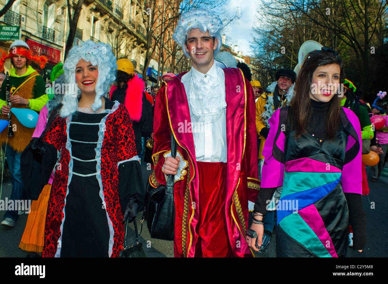 Paris France French People Celebrating Traditional Carnival Parade