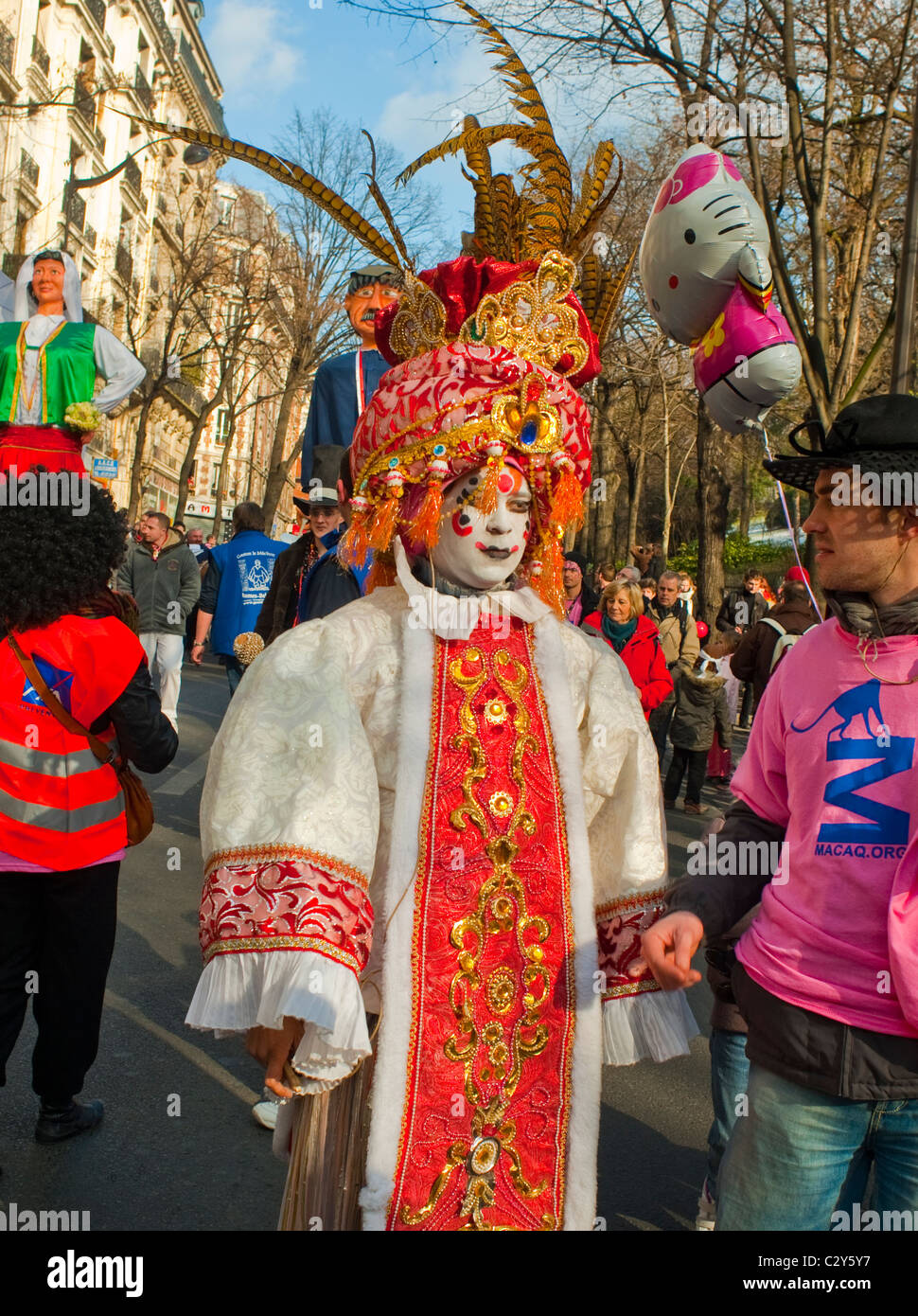 French People Celebrating Traditional Carnival Parade Paris People