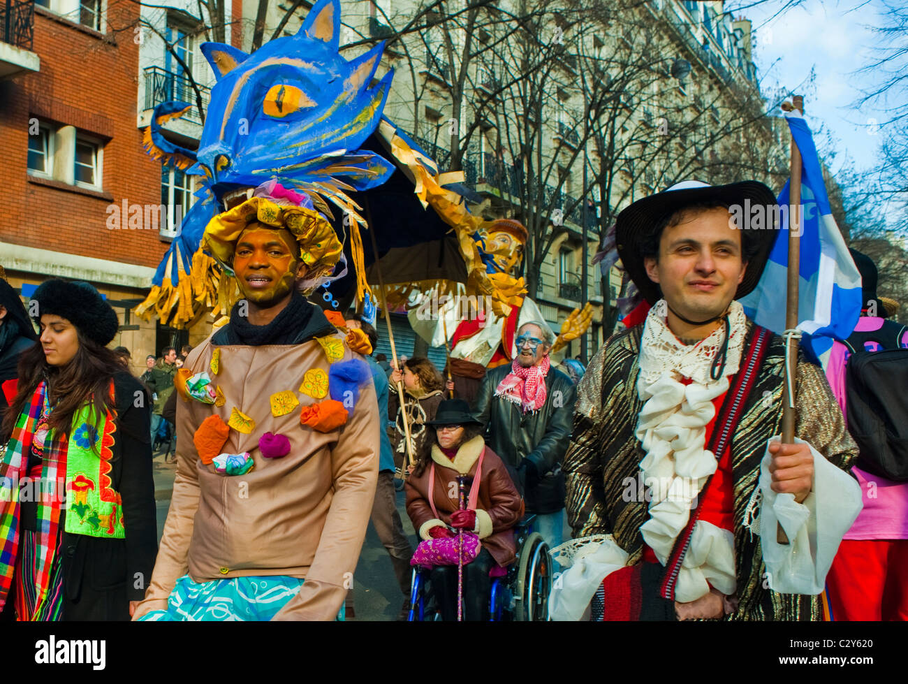 Paris France French People Celebrating Annual Carnival Parade Men