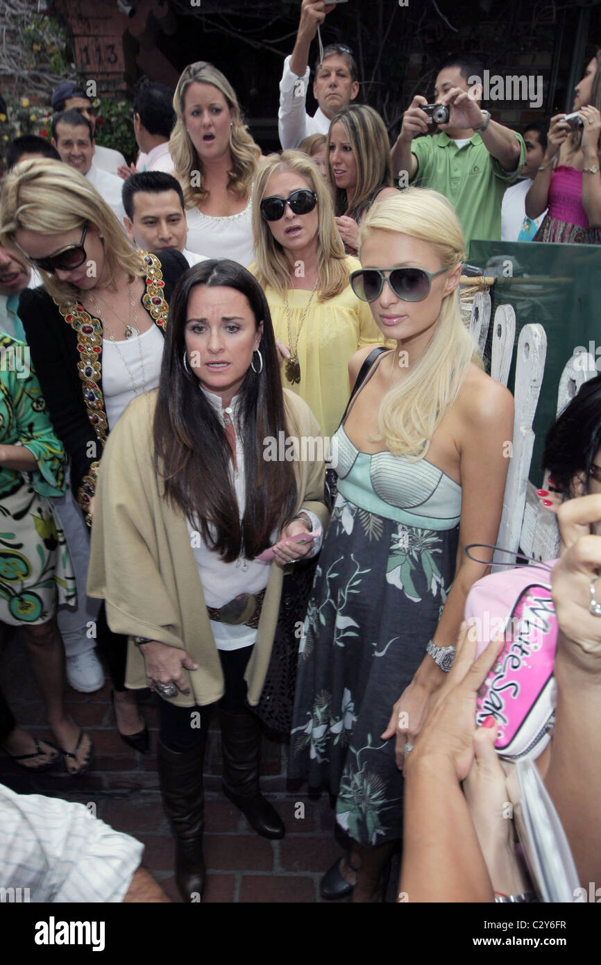 Kyle Richards, Kathy Hilton and Paris Hilton leaving the Ivy