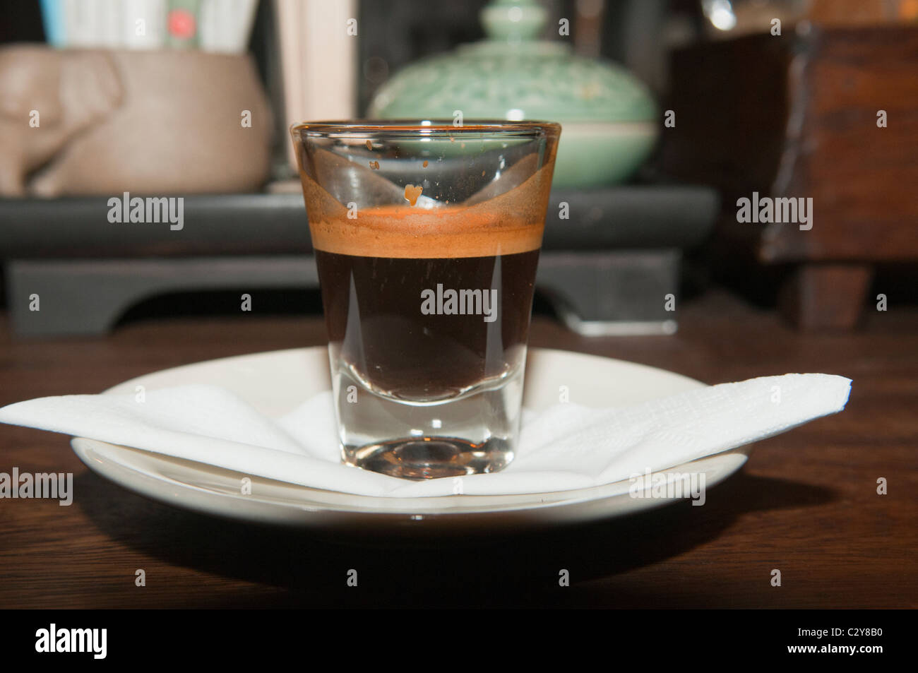 espresso coffee served in a cafe in Chiang Mai, Thailand - Stock Image