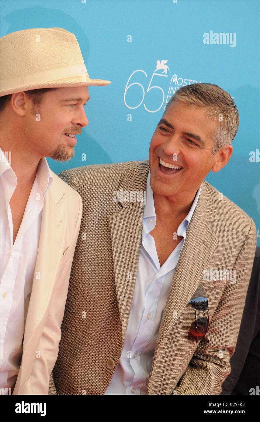 0c3ebb2b5e8 Brad Pitt and George Clooney 65th Venice Film Festival - Day 1 -  Burn  After Reading  photocall Venice