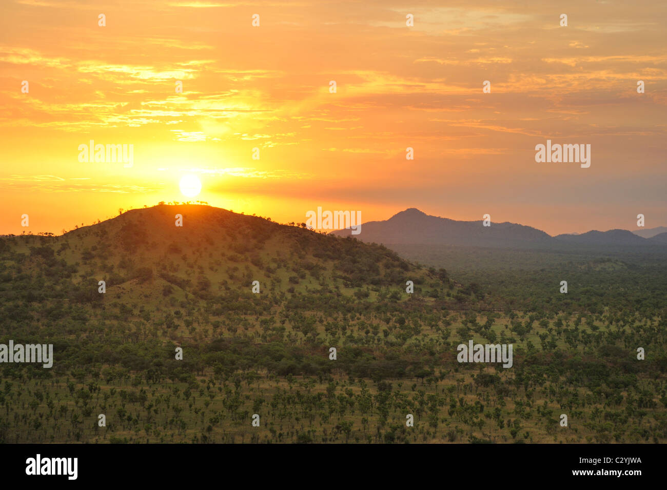 Sun setting behind Boma National Park hills, Boma-Jonglei State, South Sudan Stock Photo
