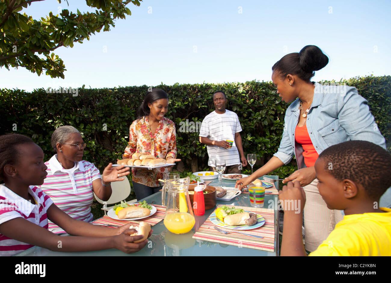 Family having lunch outside, Johannesburg, South Africa Stock Photo