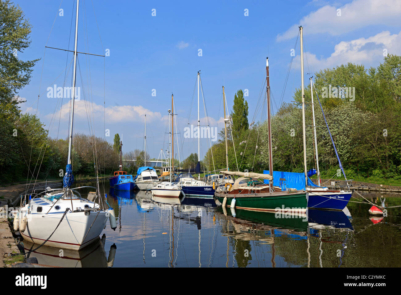 Spike Island Widnes yacht basin on the old St. Helens Sankey valley canal. - Stock Image