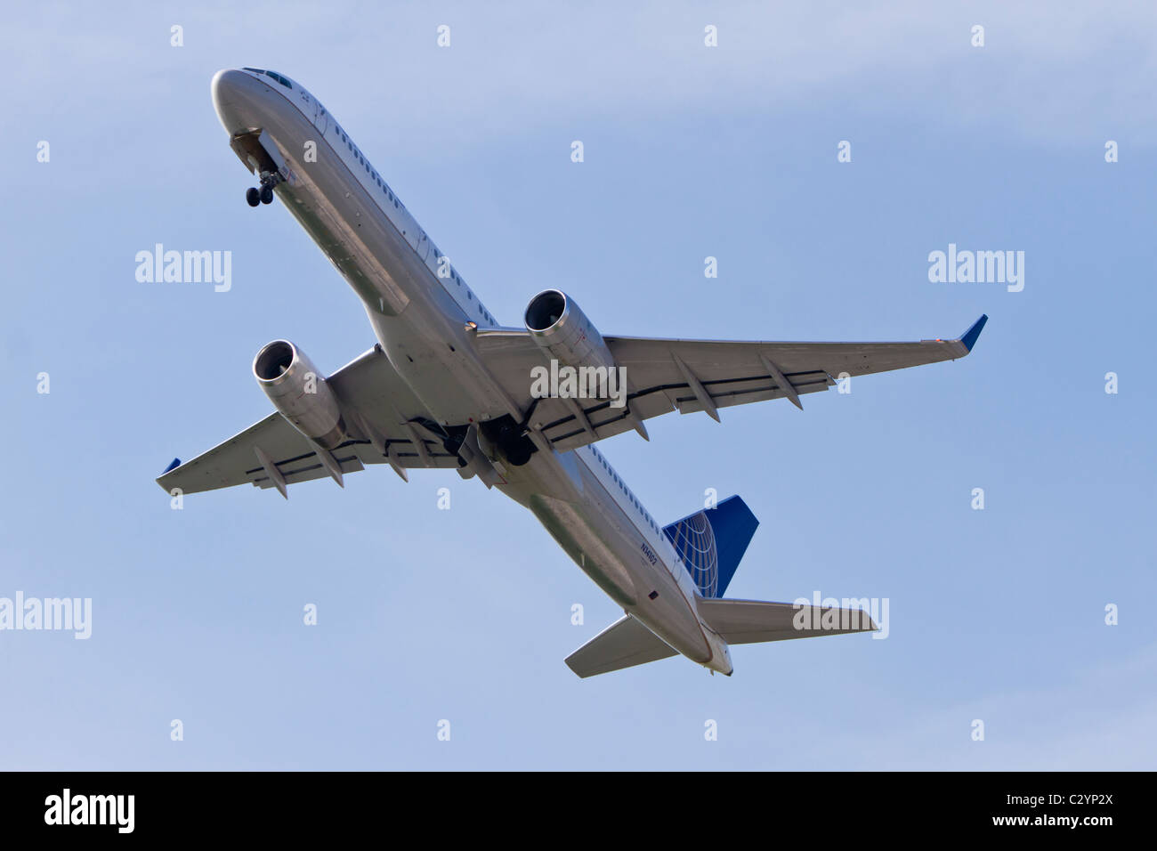 Boeing 757-224 belonging to United Airlines (Continental Airlines) reg N14102, taking off from Manchester Airport, - Stock Image