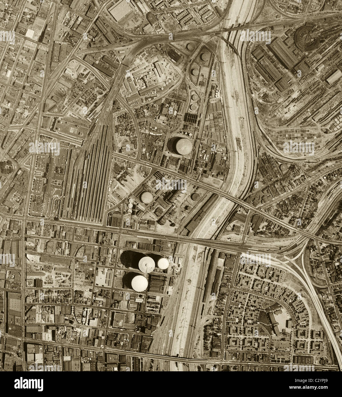 Historical Aerial Map View Above Los Angeles California Stock - Historical aerial maps