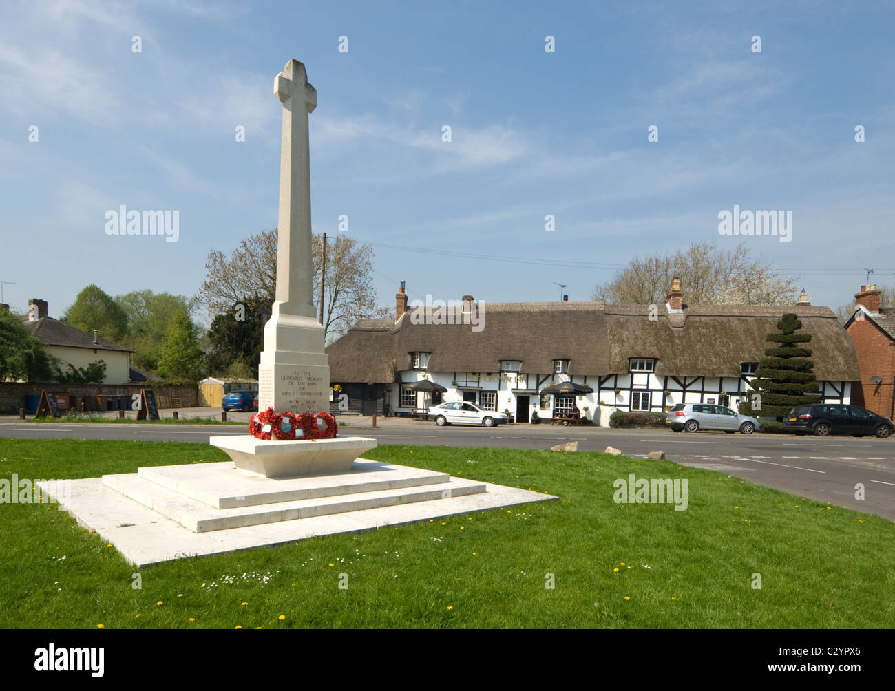 View of the village green in picturesque King's Somborne, Test Valley, Hampshire, UK Stock Photo