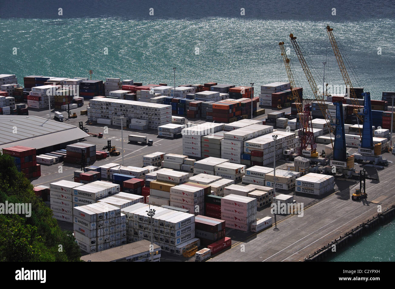 Stacked containers in Napier Harbour, Napier, Hawke's Bay, North Island, New Zealand - Stock Image