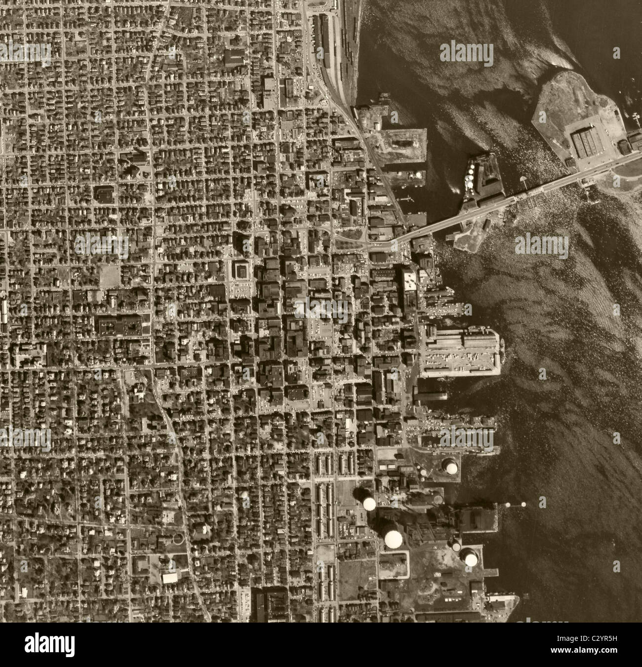 historical aerial map view above Chicago Illinois