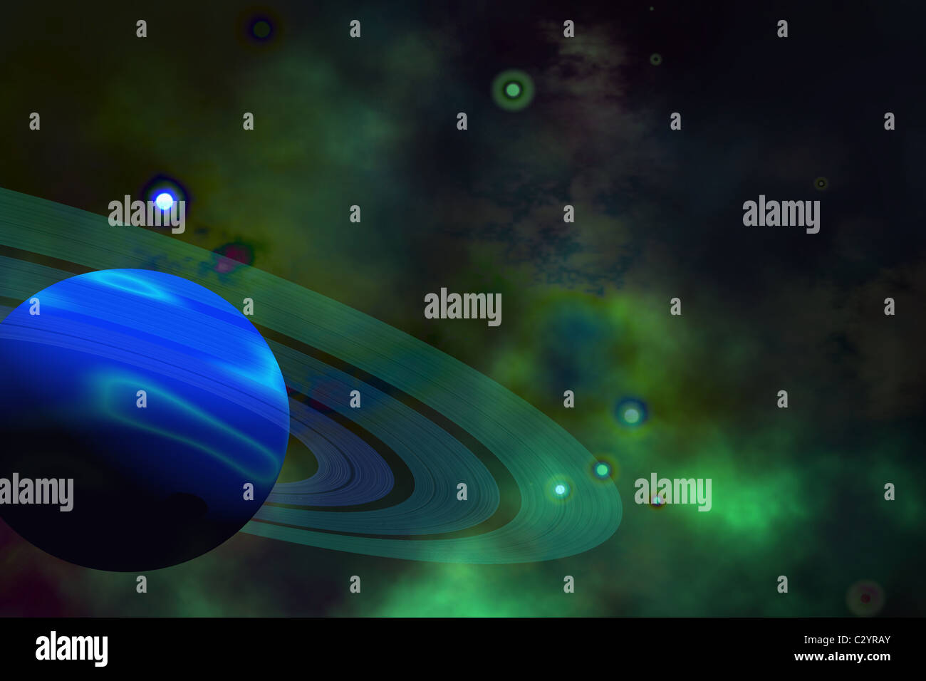 A blue ringed planet and nearby stars. - Stock Image
