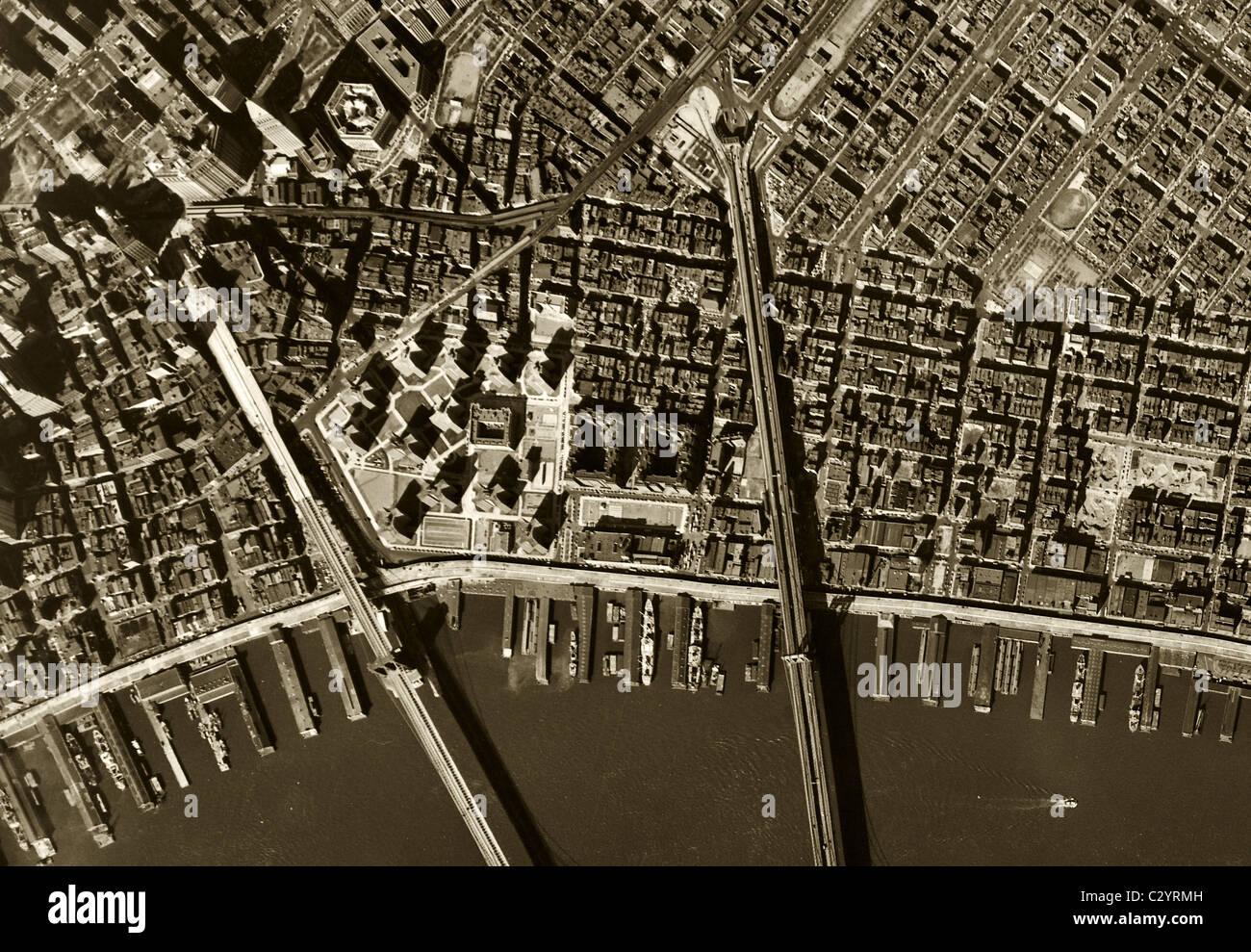 Historical Aerial Map View Brooklyn Manhattan Bridges East River