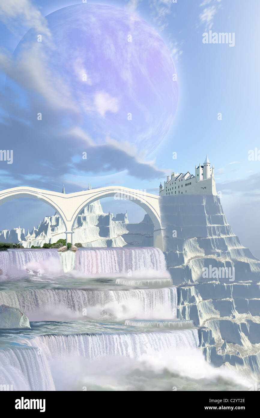 A fairy tale castle on this beautiful alien planet with gorgeous waterfalls. - Stock Image
