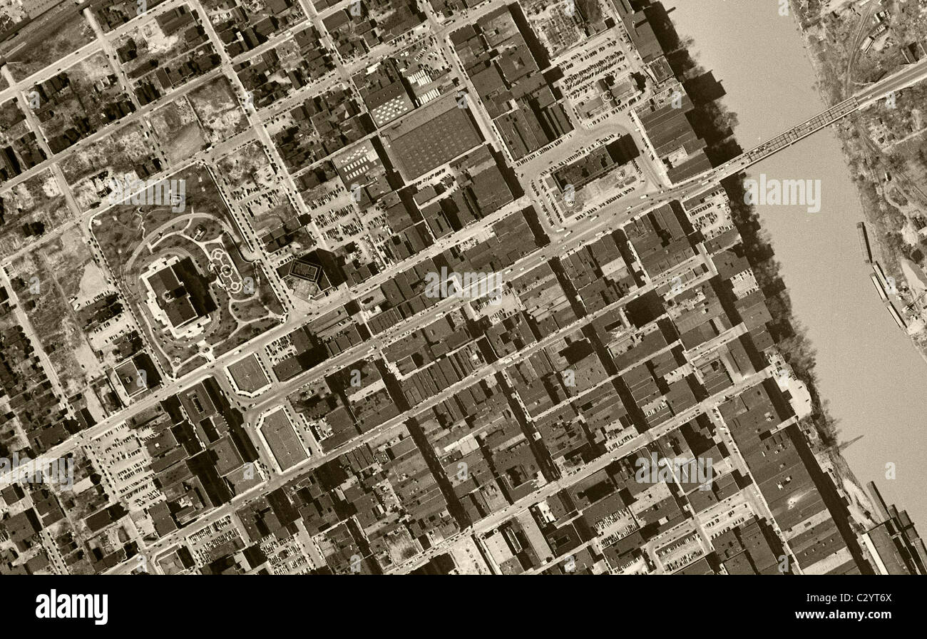 historical aerial map view Nashville Tennessee 1951 - Stock Image