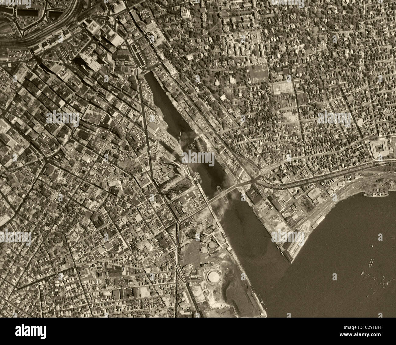 Historical Aerial Map View Above Providence Rhode Island Stock - Historical aerial maps