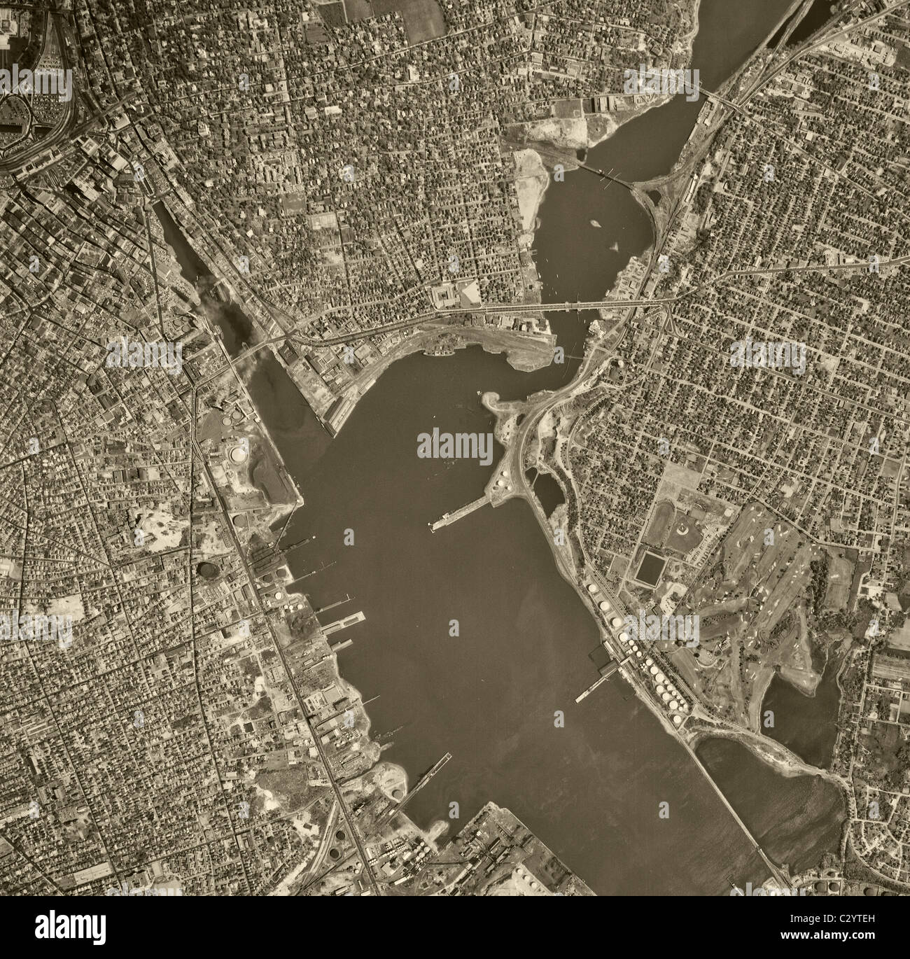 historical aerial map view above Providence Rhode Island 1955 Stock ...