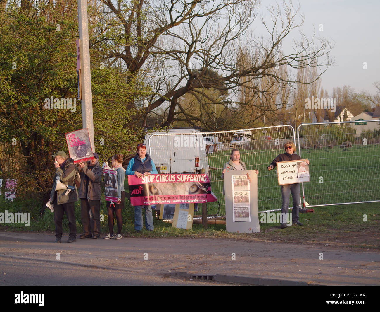 Demonstrators against the use of animals in circus acts at the entrance to Bobby Roberts travelling circus. Stock Photo