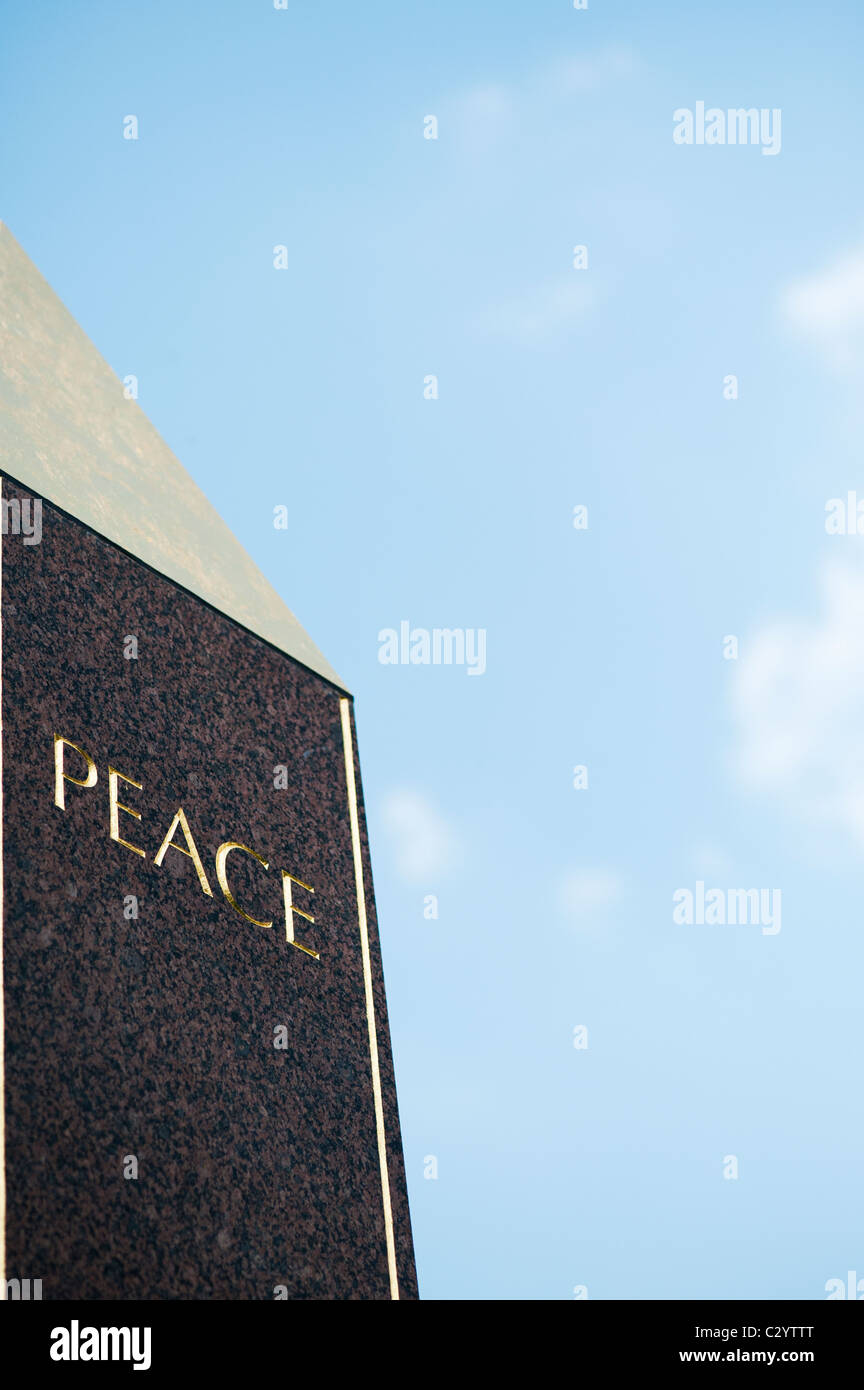 Peace Obelisk at Waterperry gardens, Wheatley, Oxfordshire. UK - Stock Image