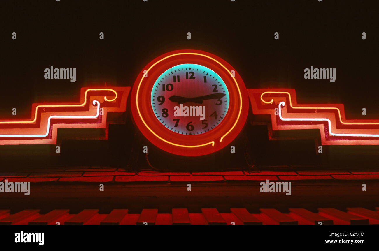 Neon clock atop The Boulevard Diner - A 1936 Worcester Lunch Car