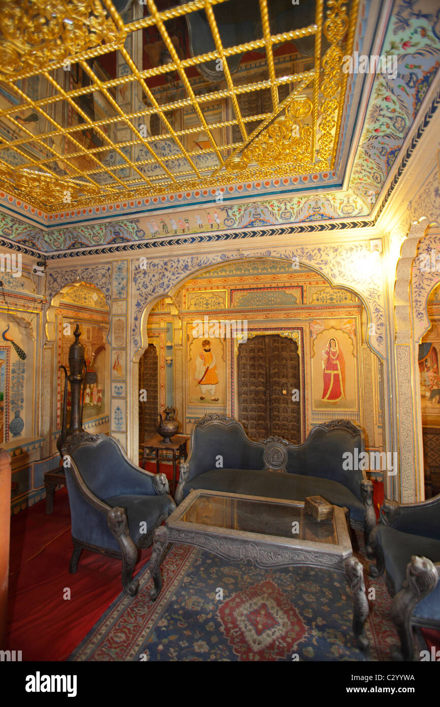 Interior of Ki Haveli or Merchant's House, Jaisalmer, Rajasthan, India - Stock Image