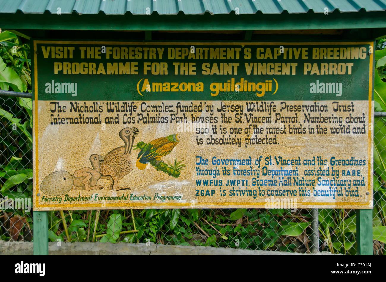 Botanical Gardens site of the parrot breeding effort at the Nicholls Wildlife Complex, Kingstown, Saint Vincent - Stock Image