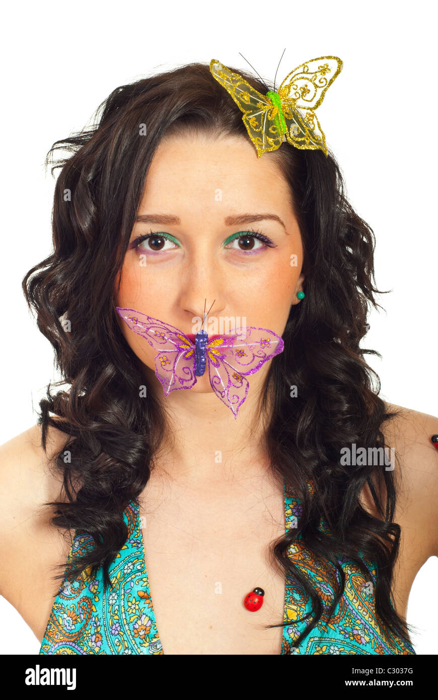 beauty woman with butterfly on her lips and hair isolated on white  background 9d901fc99