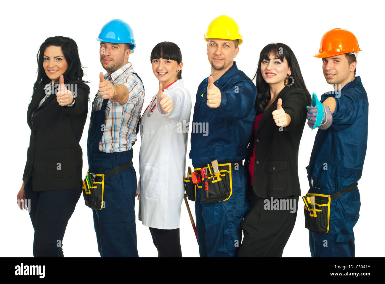 Successful six people with different careers giving thumbs up and standing in a line isolated on white background - Stock Image