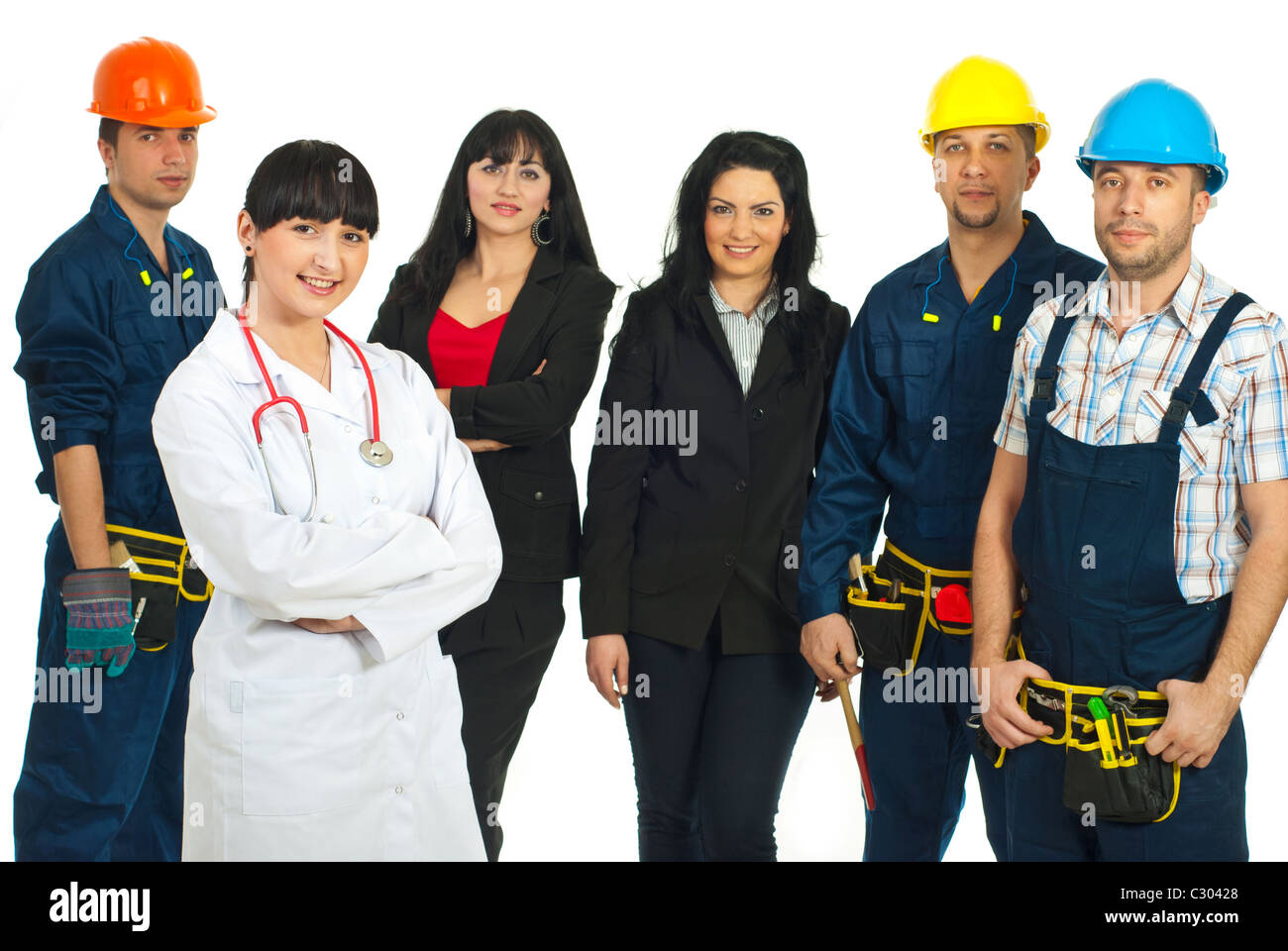 Doctor woman standing with hands crossed in front of workers with different careers isolated on white background - Stock Image