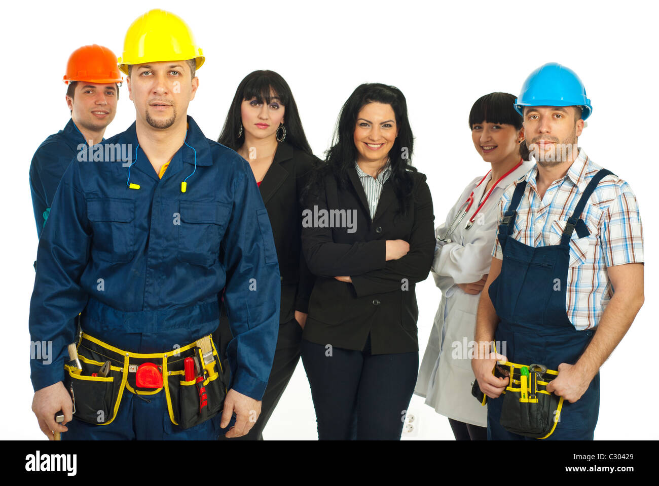 Constructor worker in front of group with different careers isolated on white background - Stock Image