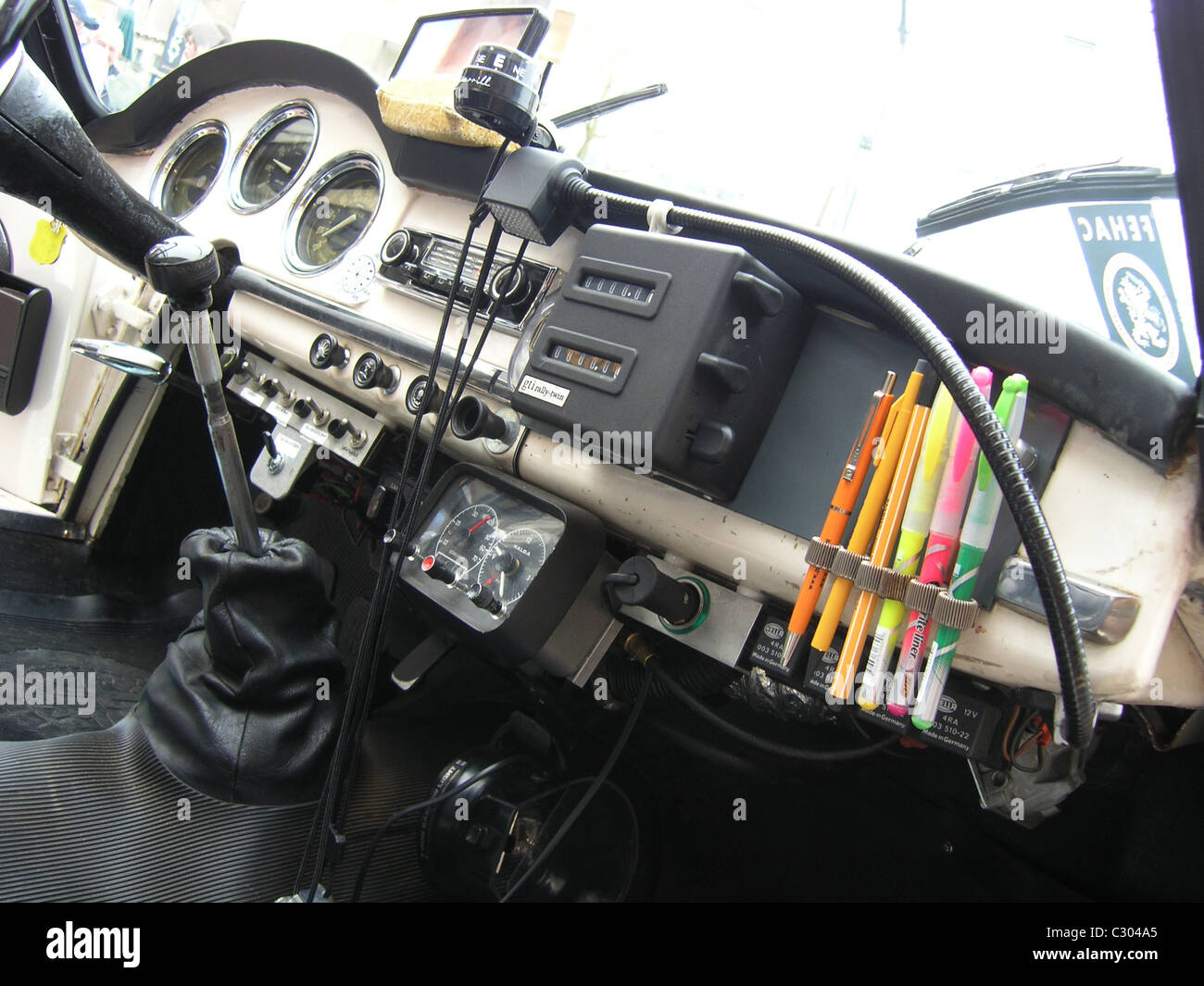 Interior Of Classic Alfa Romeo Rally Car Ready For Competition Stock Photo Alamy