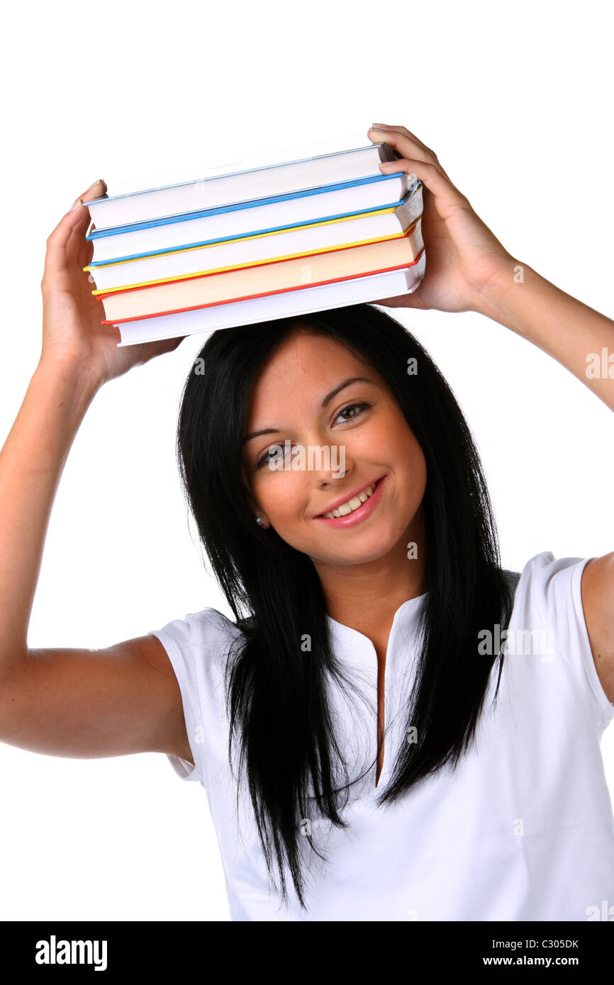 Young woman with books - Stock Image
