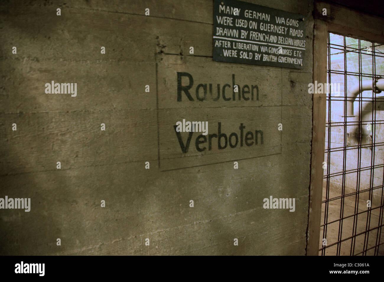 German Underground Military hospital Guernsey Channel islands Rauchen Verboten sign - Stock Image