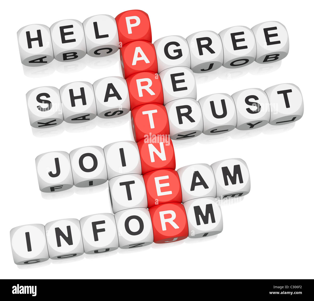 Partner attitude crossword on white background - Stock Image