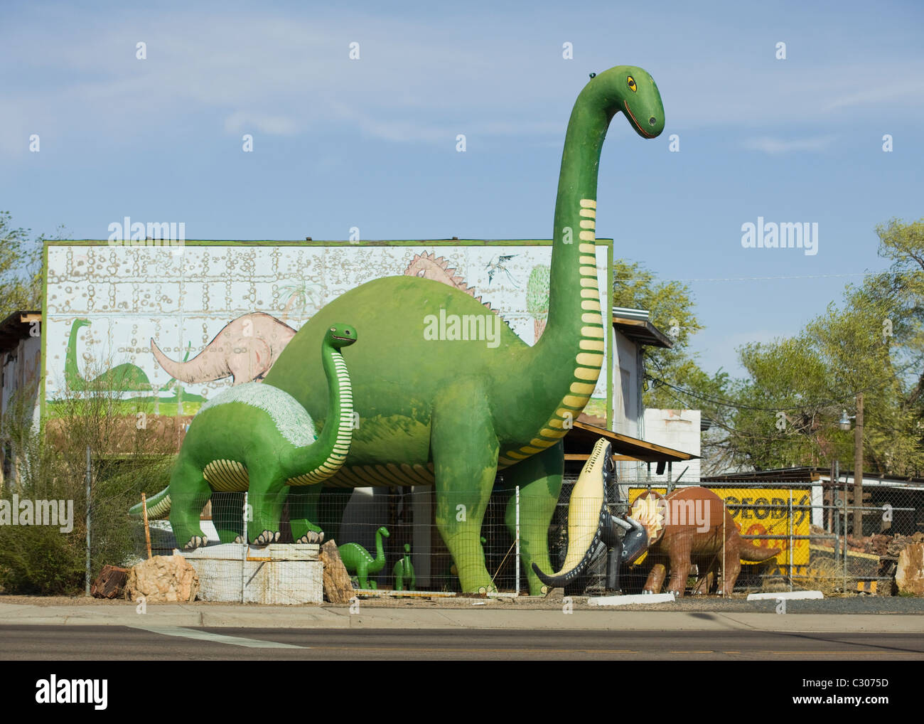 Dinosaur statues in Navajo country, Arizona, USA - Stock Image