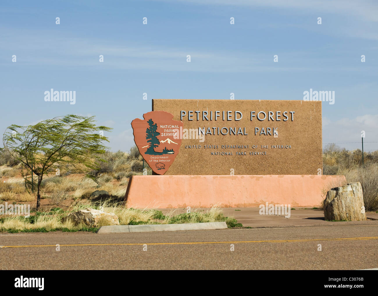 Petrified Forest entrance marker - Stock Image