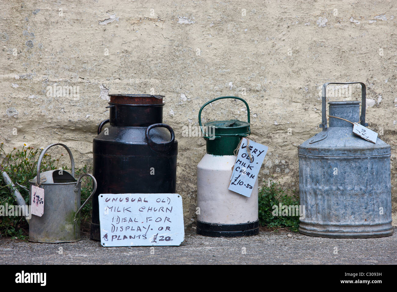 Ephemera old kitchen items as collectibles and bric a brac on sale in Cornwall, England, UK - Stock Image
