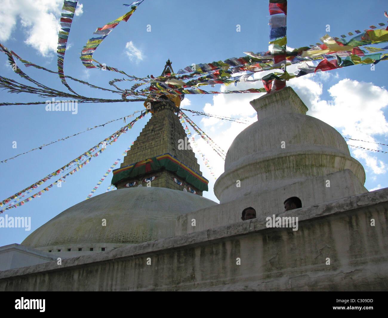 Buddhist Stupa with prayer flags in Katmandhu, Nepal - Stock Image