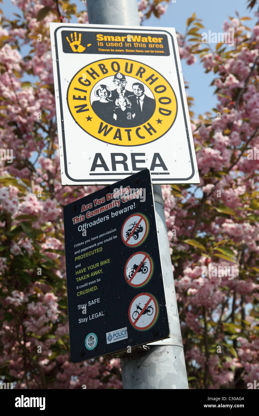 A Neighbourhood Watch Area in a U.K. city. - Stock Image
