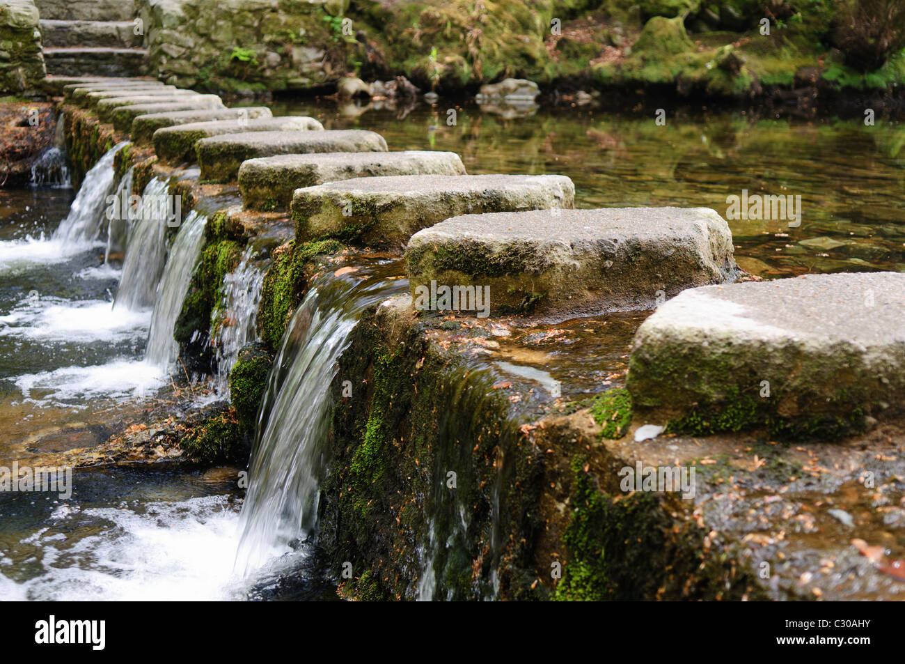 Stepping stones on the Shimna River, Tollymore Forest Park, Newcastle, Northern Ireland, featured in Game of Thrones Stock Photo