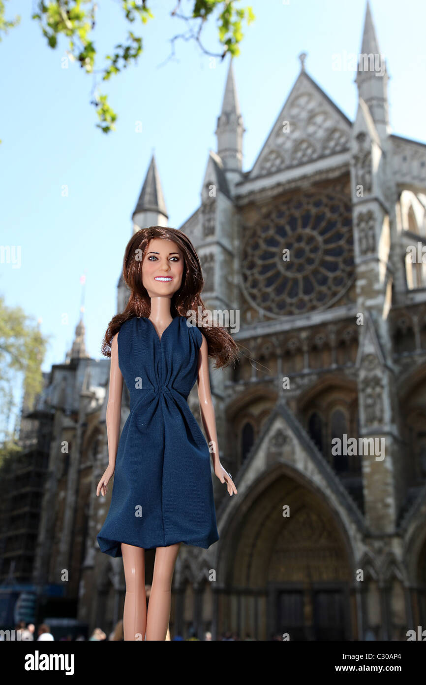 Kate Middleton, Princess Catherine, Duchess of Cambridge, Doll outside Westmister Abbey. Stock Photo
