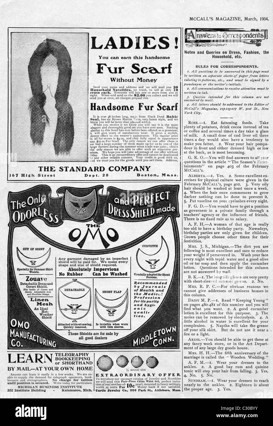 This page from McCall's Magazine, March 1904, includes advertisements (ads) for a ladies fur scarf and dress - Stock Image