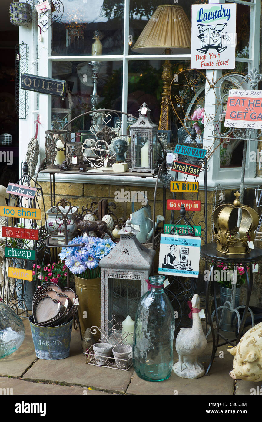 Curiosity shop selling souvenirs, collectibles and gift items in Chipping Campden, The Cotswolds, Gloucestershire - Stock Image